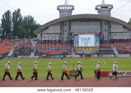 DONETSK, UKRAINE - JULY 11: Referees start to work on 8th IAAF World Youth Championships in Donetsk, Ukraine on July 11, 2013