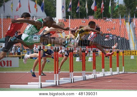 DONETSK, UKRAINE - JULY 11: 110 metres Hurdles competition during 8th World Youth Championships in Donetsk, Ukraine on July 11, 2013