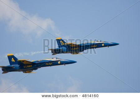 A Pair Of The Us Navys Blue Angels Doing A Flyby