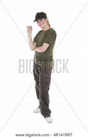 Woman Soldier With Cigarette In Hand