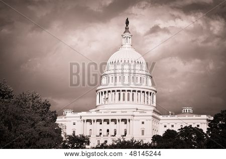 Capitol Building with dramatic cloudy sky - Washington DC, United States