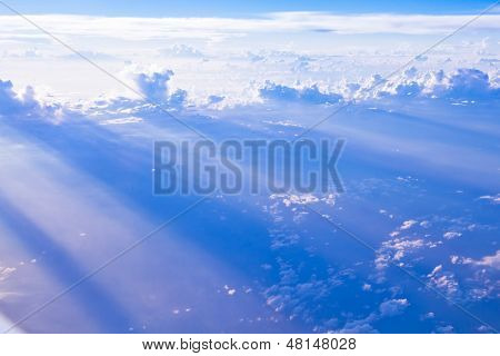 Cloud and sky formations seen from the plane