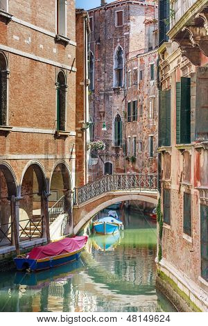 Romantic Canal And Bridge In Center Of Venice, Italy