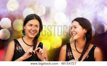 Portrait Of Two Attractive Teen Girls Having Fun