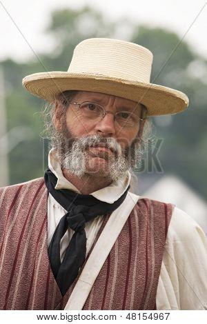 Reenactor Dressed In Period Clothing 1812 Or Rev War