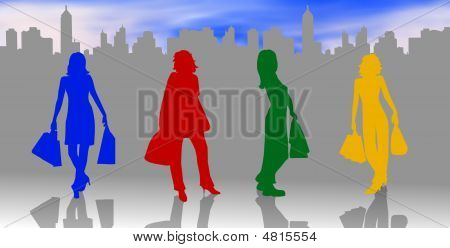 Colorful Shopping Silhouettes