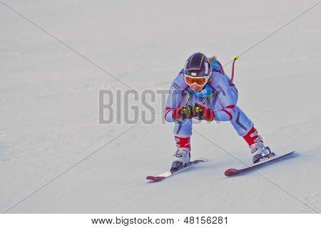 PATSCHERKOFEL, AUSTRIA - JANUARY 15 Martina Rettenwender (Austria) places 7th in the Super-G of the Ladies' Super Combined on January 15, 2012 in Patscherkofel, Austria.