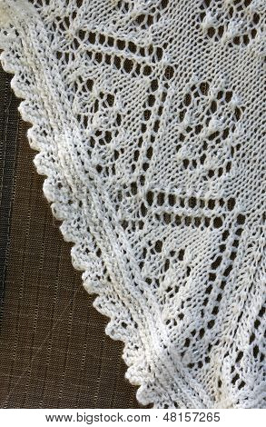 Detail of hand knitted shawl