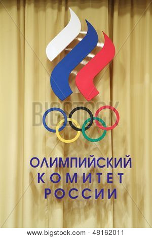 MOSCOW - JANUARY 31: Logotype of Russian Olympic Committee at 20th anniversary award ceremony Silver Doe in Russian Olympic Committee, on January 31, 2013 in Moscow, Russia.