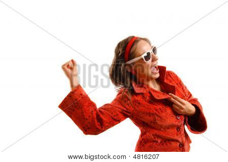 Beautiful Young Woman Wearing Red Jacket And Sunglasses, Rejoicing
