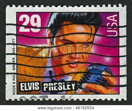 USA - CIRCA 1993: A stamp printed in USA shows image of the Elvis Aaron Presley a (January 8, 1935 - August 16, 1977) was an American singer, musician and actor, circa 1993.
