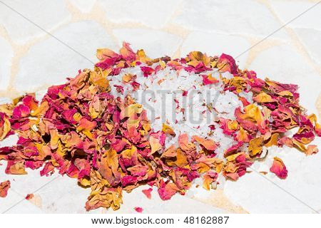 Fragrant Dried Rose Petals With Bath Salts