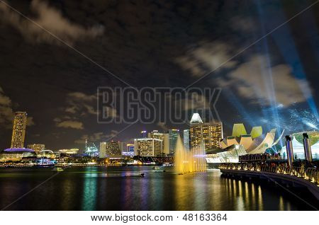 Laser show performed at Marina Bay Sands