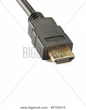 Close Shot Of Hdmi Cable Isolated On White Background