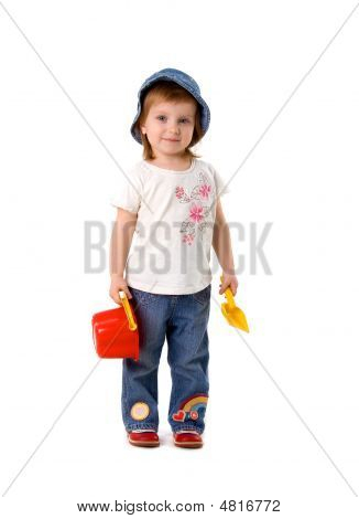 Cute Little Girl With Shovel