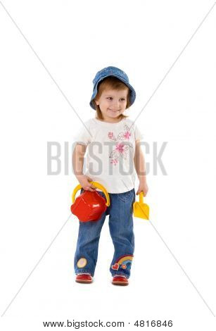 Girl With Shovel And Bucket