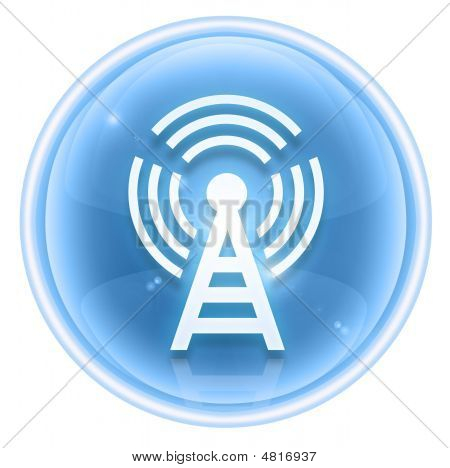 Wi-fi Tower Icon Ice, Isolated On White Background