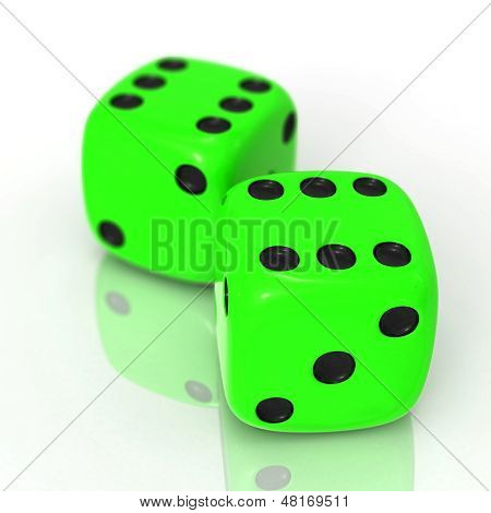 Green Dices On White
