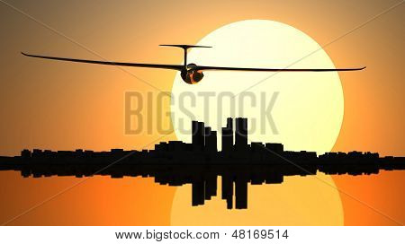 Glider On The Sunset City