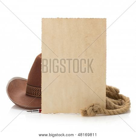 aged paper and cowboy hat isolated on white background
