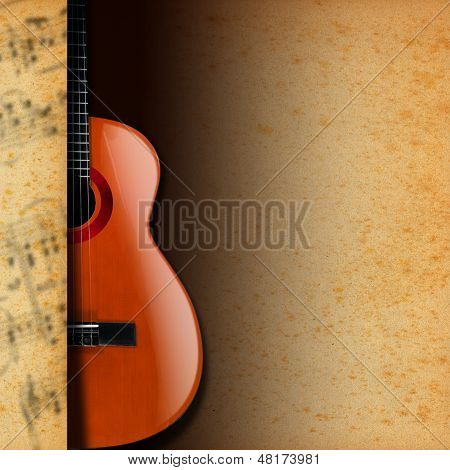 Acoustic Guitar On Yellow Stained Paper