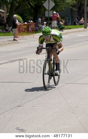 Cyclist Races Down Hill At Stillwater