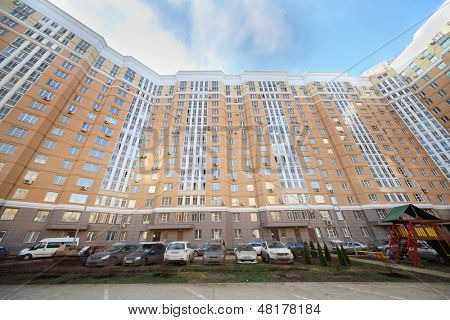 MOSCOW - NOV 23: Parked cars near multi-storey building of complex Tsaritsino, on Nov 23, 2012 in Moscow, Russia. Tsaritsino District is 15 residential houses with residential area of 369600 m2.