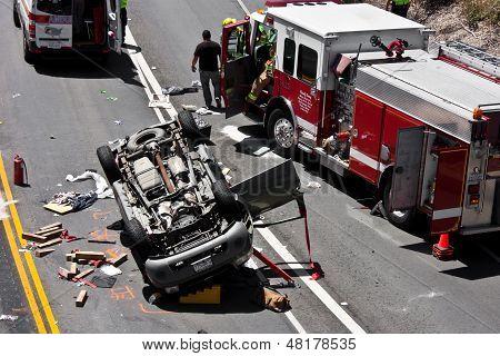 Overturned Sport Utility Vehicle