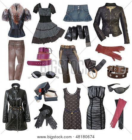 set of fashionable stylish clothes