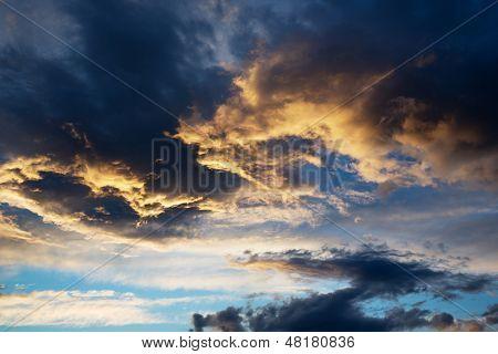 beautiful thunderstorm cloud at sunset