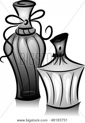 Illustration of Bottled Perfumes in Black and White