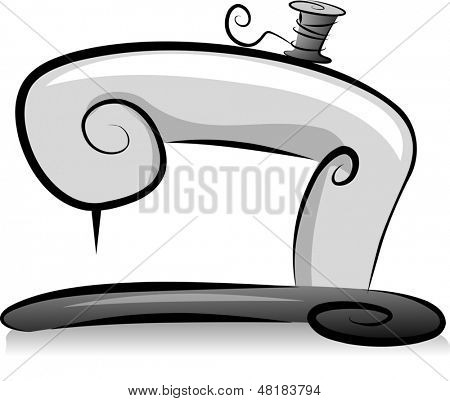 Illustration of Sewing Machine with a Spool of Thread in Black and White