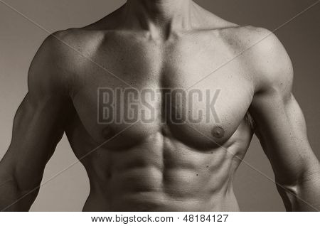 Upper Body Of A Muscular Man