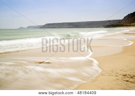 Sennen Cove beach before sunset in Cornwall England