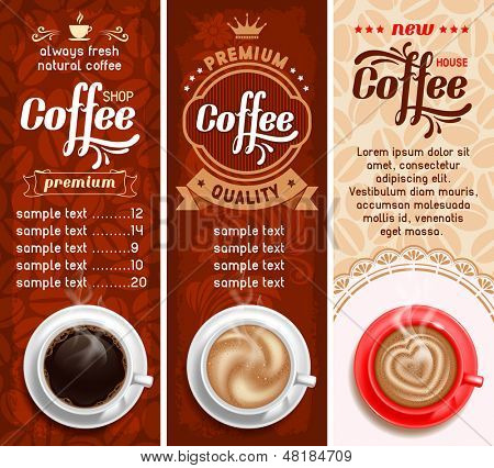 Set of three coffee design templates. Vector.