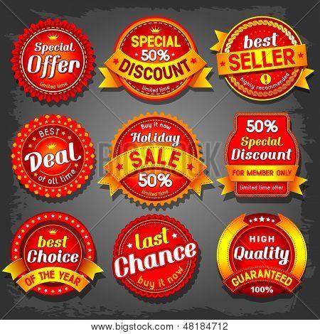 Conjunto de rótulos de venda de vetor de luxo.