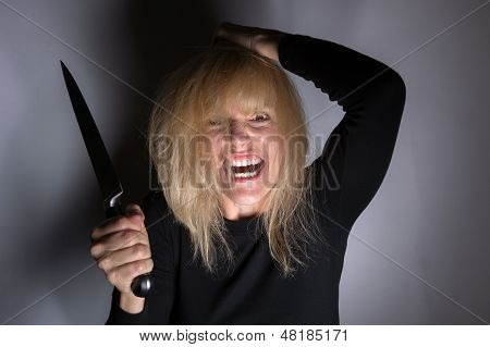 Psychotic Woman With Knife