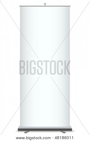 Roll up banner vector template isolated on white background.