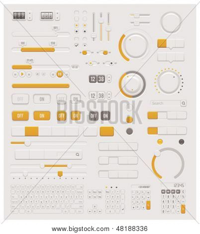 Vector UI set - switches, sliders, buttons and keyboards