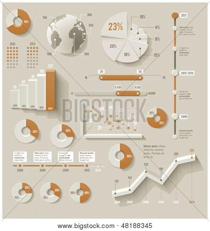 Elementos de la infografía de vector. Conjunto de los gráficos 3d, gráficos y otros elementos de diseño infográfico