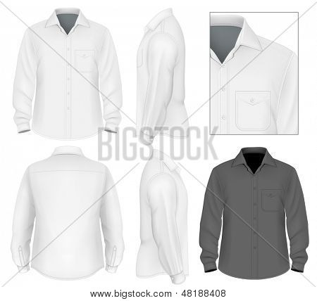 Ilustração em vetor foto-realistas. Botão de homens modelo de design de camisa de manga comprida (vista frontal