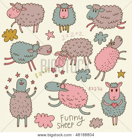 Cute cartoon sheep in vector. Childish set in pastel colors