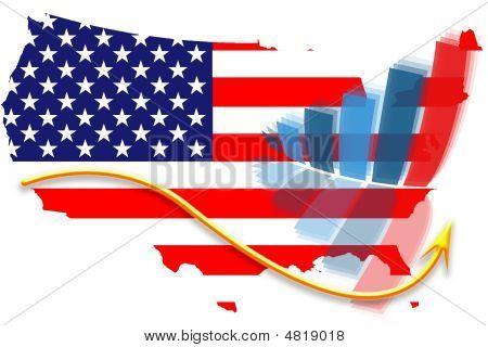 Usa Flag Map And Graph Chart
