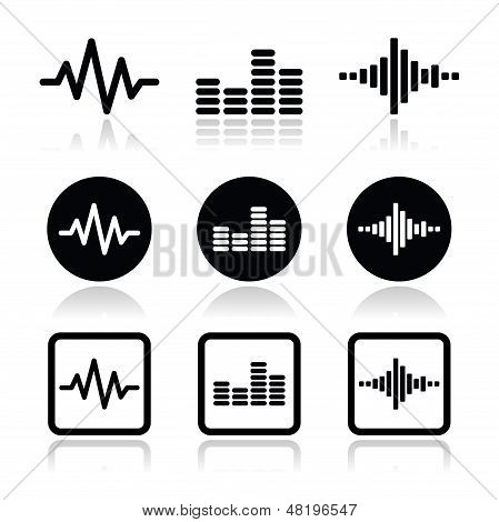 Soundwave Musik Vektor Icons set
