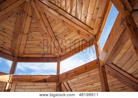 Wooden housing construction - top part