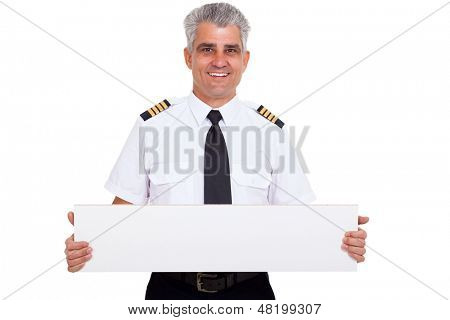 close up portrait of senior captain presenting blank white board