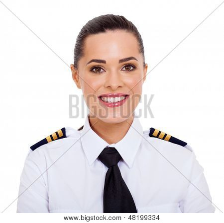 pretty female airline pilot closeup portrait isolated on white