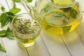 pic of teapot  - healthy green tea cup with tea leaves - JPG