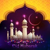 image of eid ka chand mubarak  - illustration of Eid Mubarak background with mosque - JPG