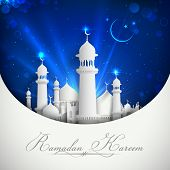 stock photo of ramazan mubarak  - illustration of Eid Mubarak background with mosque - JPG